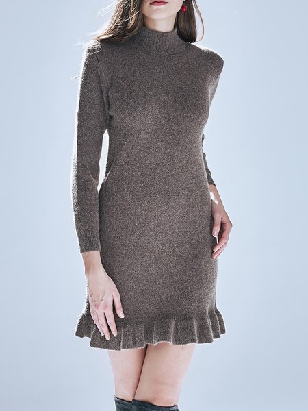 Turtleneck Girly Knitted Long Sleeve Flounce Sweater Dress