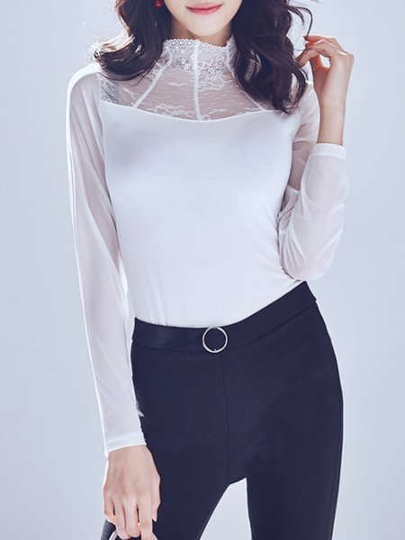 Mesh Paneled Plain H-line Turtleneck Long Sleeve Blouse