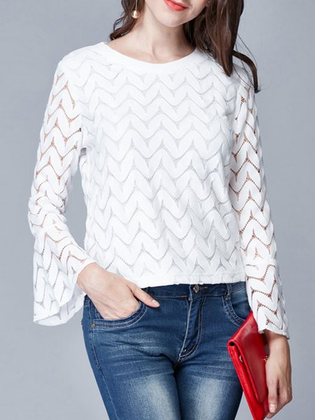 Long Sleeve Plain Pierced Long Sleeved Top
