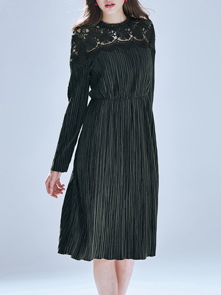 Casual Long Sleeve Pierced Paneled Midi Dress