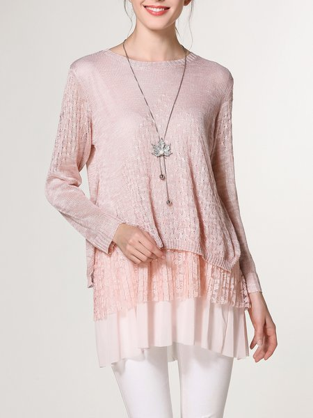 Pierced Knitted Casual Crew Neck Tunic
