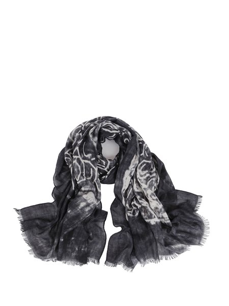 Black Casual Fringed Scarf