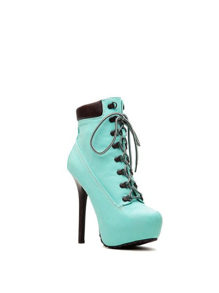 PU Casual Lace-up High Heel Boots