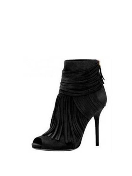 Yellow Spring/Fall High Heel Suede Boots