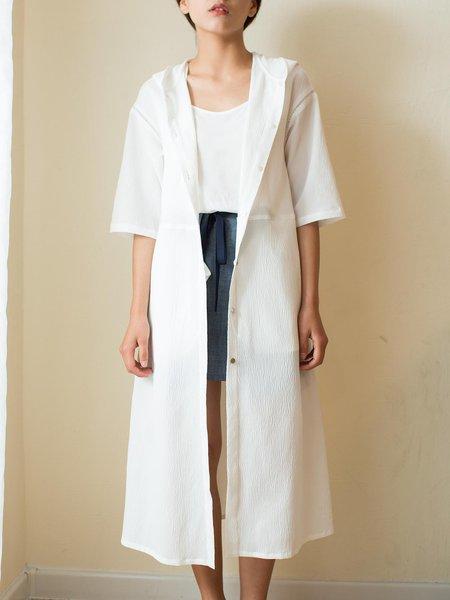 White Half Sleeve Hoodie Solid Coat