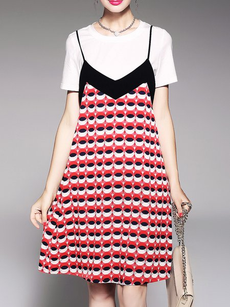 Red Two Piece Crew Neck Girly Dress With Top