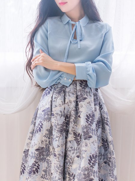 Blue Polyester Work Bow Blouse