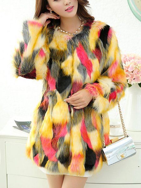 Plus Size Long Sleeve Fur Fluffy Casual Fur And Shearling Coats