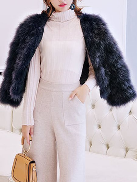Crew Neck Long Sleeve Fluffy Casual Artificial Leather And Shearling Coat