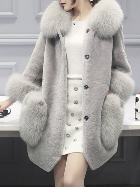 Plus Size Casual Long Sleeve Fur And Shearling Coats