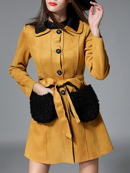 Yellow A-line Suede Long Sleeve Fur And Shearling Coat