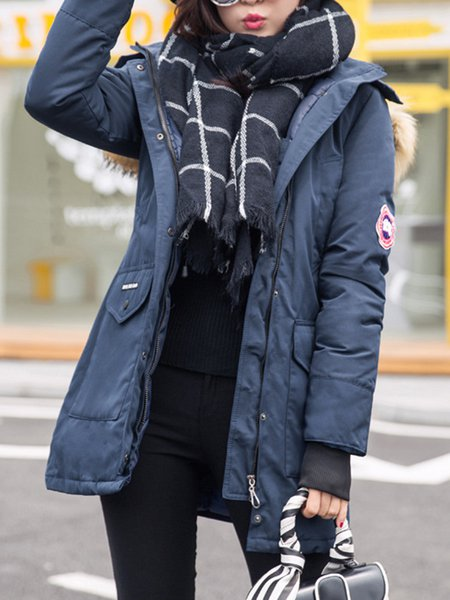 Navy Blue Plain Hoodie Gathered Long Sleeve Fur And Shearling Coat