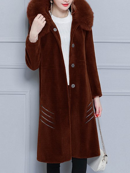 Casual Plain Long Sleeve A-line Fur And Shearling Coat