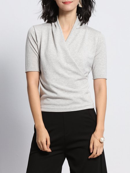 Casual Surplice Neck Shorts Sleeved Top