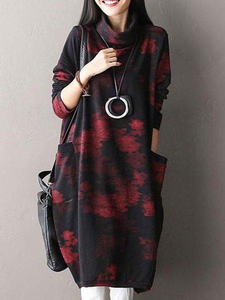 Black Turtle Neck Long Sleeve Cotton Linen Dress