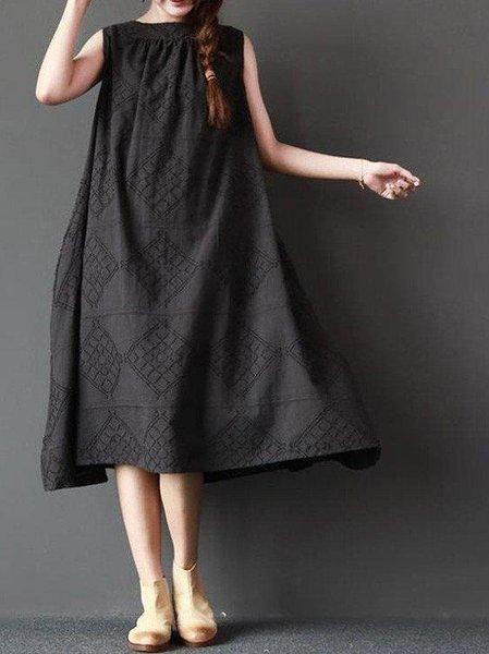 Cotton Crew Neck Casual A-line Linen Dress