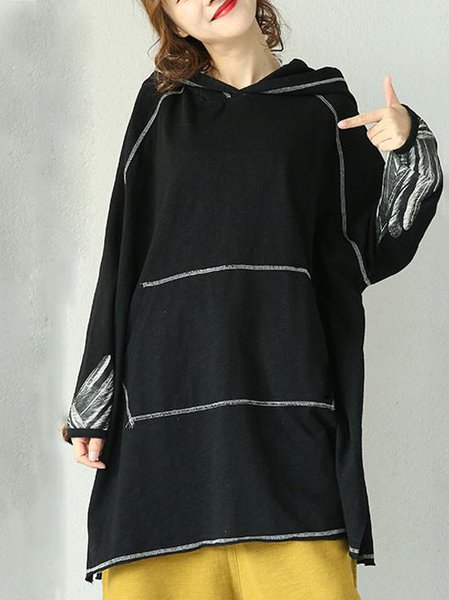 Black Long Sleeve Hoodie Cotton Linen Top