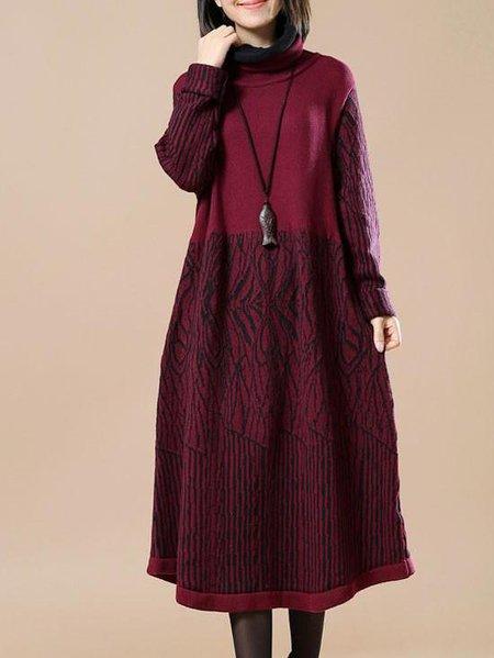 Turtleneck Long Sleeve Casual Linen Dress