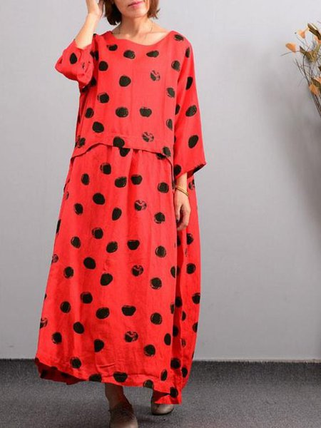 Shift 3/4 Sleeve Printed Casual Linen Dress