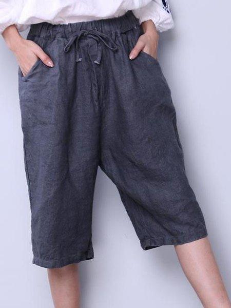 Gray Casual Solid Linen Linen Bottom