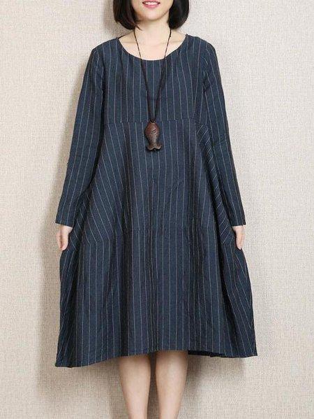 Navy Blue Shift Stripes Casual Linen Linen Dress