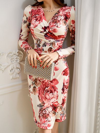 Surplice Neck Multicolor Midi Dress Bodycon Slit Floral Dress