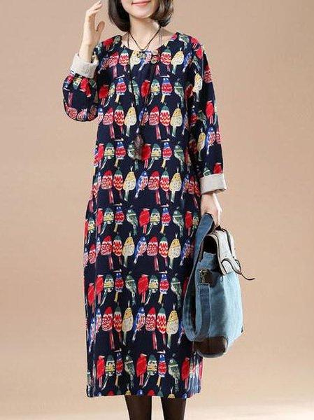 Long Sleeve Casual Cotton Animal Print Printed Dress