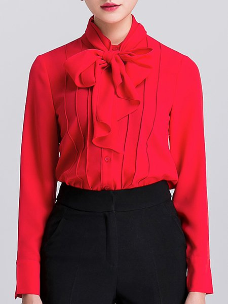 Long Sleeve Solid Work Tie-neck Blouse