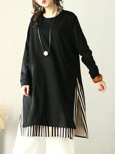 Black Shift Slit Long Sleeve Linen Top