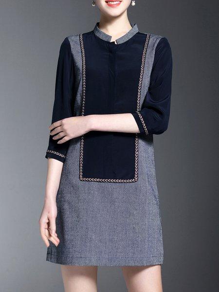 Cotton 3/4 Sleeve Casual Stand Collar Paneled Mini Dress