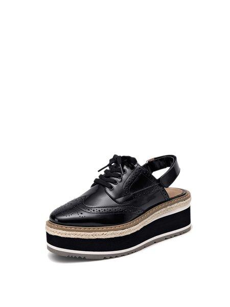 Black Dress Leather Magic Tape Platform Sandals