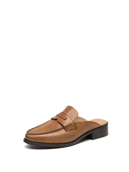 Brown Chunky Heel Leather Casual Slippers