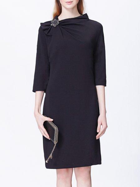 Black Gathered Sheath 3/4 Sleeve Solid Elegant Mini Dress