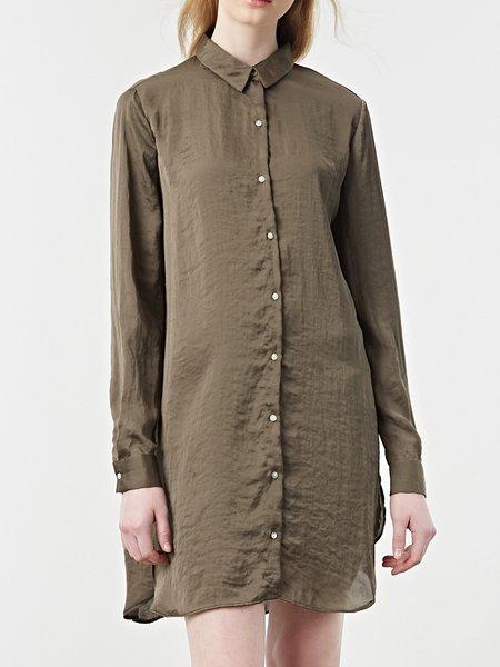 Long Sleeve Shirt Collar Casual  Buttoned Shirt Dress