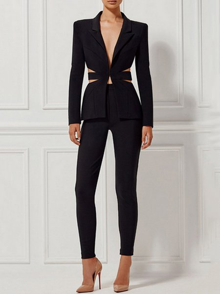 Black Lapel Two Piece Long Sleeve Suits And Separate