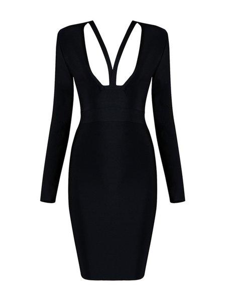 Black Long Sleeve V Neck Cutout Solid Midi Dress