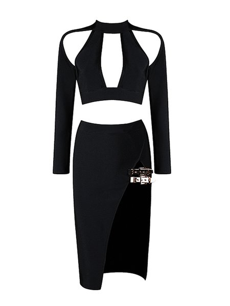 Black Two Piece Long Sleeve Cutout Midi Dress