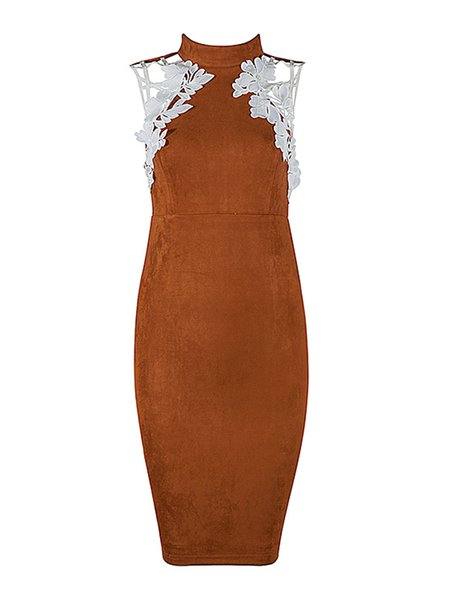 Brown Plain Sexy Cutout Appliqued Suede Midi Dress
