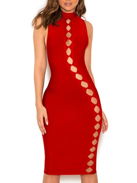 Cutout Solid Sexy Sleeveless Midi Dress