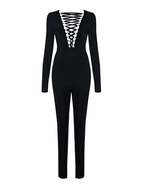 Sexy Long Sleeve Lace Up Jumpsuit