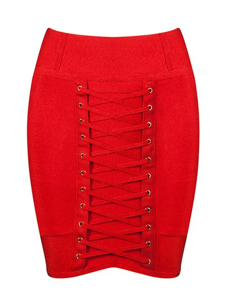 Red Lace Up Sexy Bodycon Mini Skirt