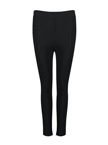 Black Sexy Solid Binding Skinny Leg Pants