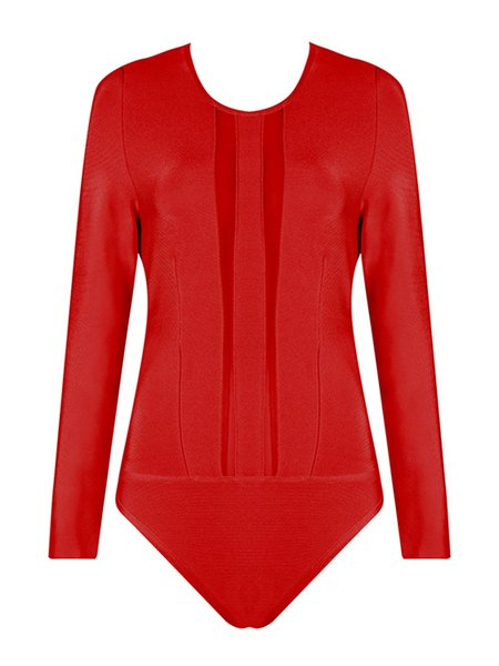Red Mesh Paneled Sexy Long Sleeve Bodysuit