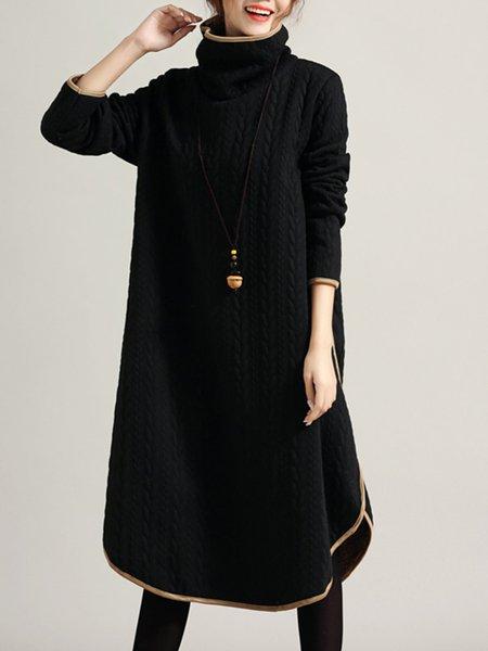 Shift Cotton Casual Turtleneck Linen Dress