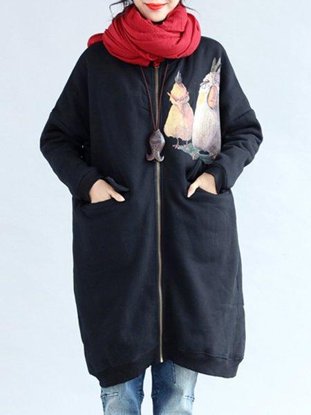 Black Casual Printed Cotton Linen Outerwear
