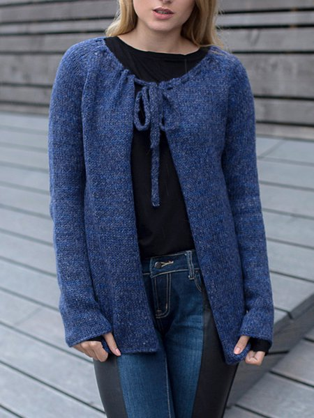 Navy Blue Knitted Casual Cardigan