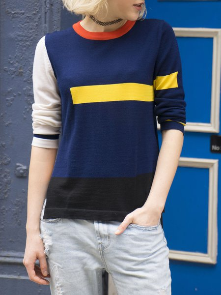 Navy Blue Color-block Statement Crew Neck  Long Sleeved Top