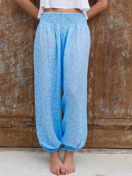 Blue Boho Leaf Printed Voile H-line Track Pant