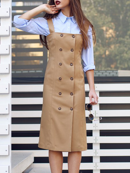 Beige Casual Plain Wool Midi Dress