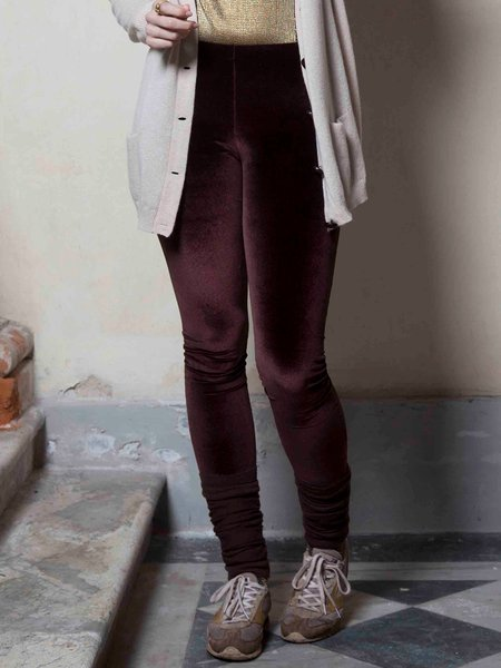 Brown Velvet Plain Casual Legging